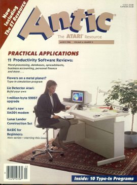 Antic ATARI magazine MARCH 1986 Vol.4 #11 PRACTICAL APPLICATIONS with Winter catalog inside ref101164 Pre-owned in good condition. Magazine ONLY