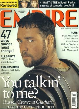 EMPIRE magazine June 2000 Russell Crowe in GLADIATOR ref10062 Pre-owned in very good clean condition. Please see larger photo and full description for details.
