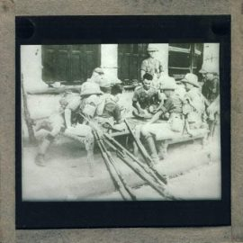 Army Soldiers rifles vintage magic glass lantern slide ref30004 Please read the full description and see photo.