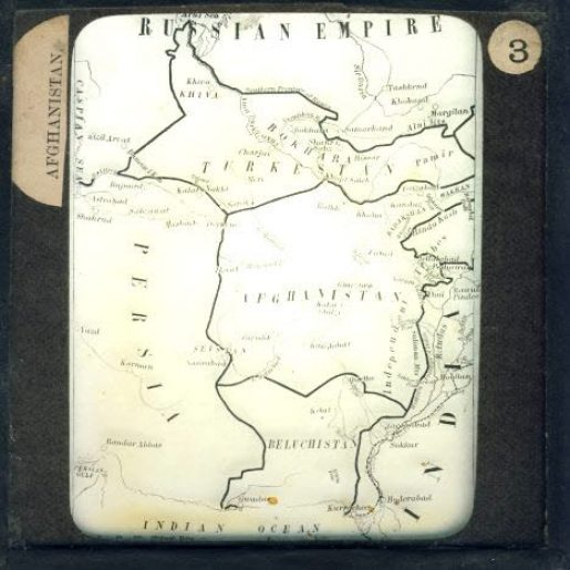 AFGHANISTAN map vintage magic glass lantern slide Persia Russian Empire Beluchistan Turkestan India ref30008 Please read the full description and see photo.