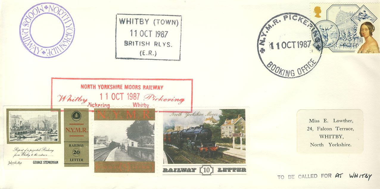 1987 Whitby Pickering British Railways Letter stamps cover 1987 North Yorks Moors Railway refD275 In very good condition. Please see larger photo and full description for details.