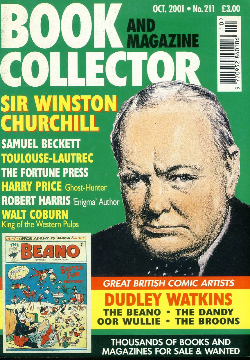 Book & Magazine Collector #211 Oct 2001 SIR WINSTON CHURCHILL Dudley Watkins Comic Artist ref101447 Very Good Condition. This listing is for the Magazine ONLY. Sorry no extras