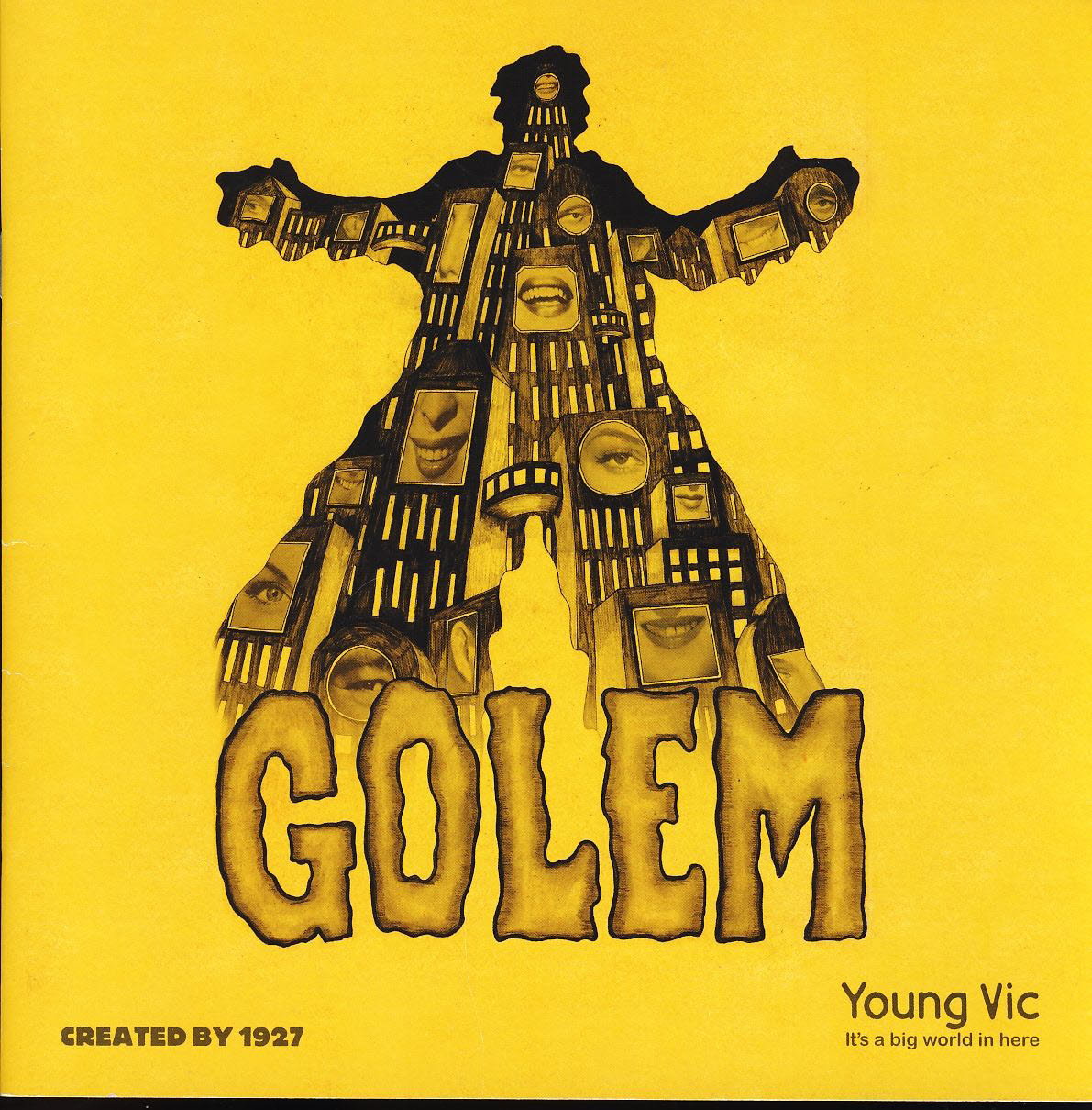 GOLEM Young Vic It's a big world in here 1927 Theatre Programme refb1356 Measures approx 20.5cm x 20.5cm.