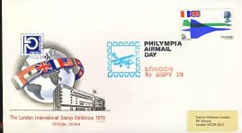 refcd403 Philympia 1970 LONDON STAMP EXHIBITION Official Cover Ltd Issue AIRMAIL DAY Unsealed - no insert card. Please see larger photo and full description for details.