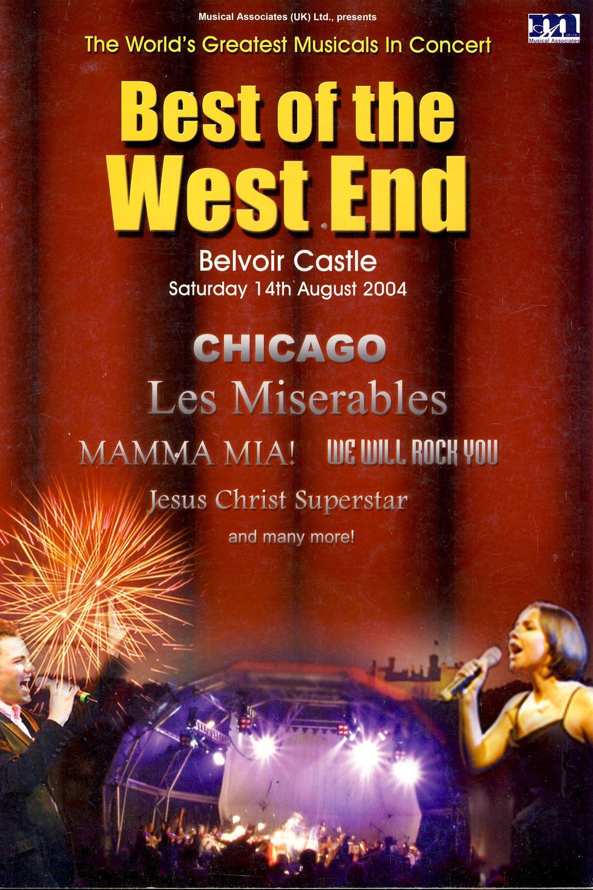 Best of the West End 2004 Belvoir Castle Souvenir Programme CHICAGO