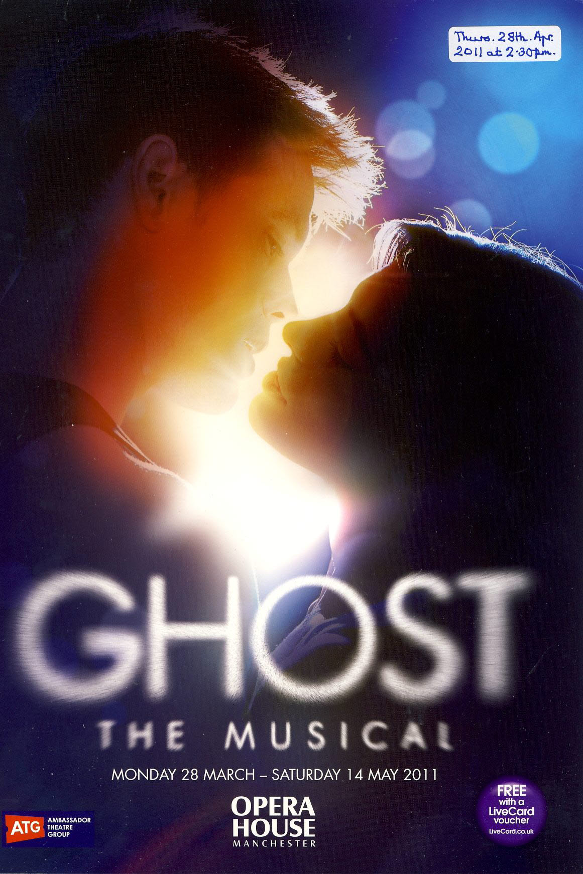 GHOST The Musical 2011 MANCHESTER Opera House Theatre Programme refb1386 Measures approx 21cm x 29cm. Date label on cover.