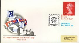 refcd404 Philympia 1970 LONDON STAMP EXHIBITION Official Cover Ltd Issue GREAT BRITAIN DAY Unsealed - no insert card. Please see larger photo and full description for details.