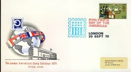refcd405 Philympia 1970 LONDON STAMP EXHIBITION Official Cover Ltd Issue DAY OF THE AMERICAS Unsealed - no insert card. Please see larger photo and full description for details.