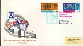 refcd406 Philympia 1970 LONDON STAMP EXHIBITION Official Cover Ltd Issue UNITED NATIONS DAY Unsealed - no insert card. Please see larger photo and full description for details.