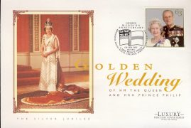1997 Silver Jubilee Golden Wedding HM The Queen & Prince Philip Commemorative Luxury First Day Cover Britannia Royal Naval College DARTMOUTH refCD263 Not Sealed. No insert card. Please see larger photo and full description for details.