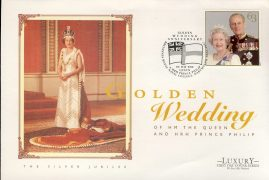 1997 Golden Wedding Luxury First Day Cover HM The Queen & HRH Prince Philip refCD259 Not Sealed. No insert card. Some slight creasing - visible in photo. Please see larger photo and full description for details.