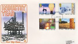1986-01-14 Industry Year Stamps FDC Mercury First Day Cover refCD280 No insert card. Please see larger photo and full description for details.