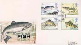 1983-01-26 British River Fishes Stamps FDC Mercury First Day Cover refCD270 No insert card. Please see larger photo and full description for details.