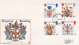1984-01-17 Heraldry College of Arms Stamps FDC Mercury English First Day Cover refCD286 No insert card. Please see larger photo and full description for details.