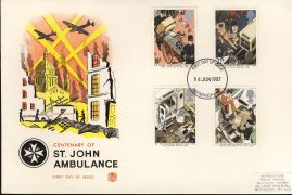1987-06-16 St John Ambulance Stamps FDC Stuart First Day Cover refCD260 with insert card. Please see larger photo and full description for details.