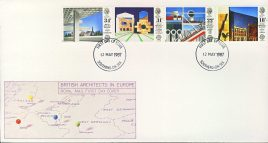 1987-05-12 British Architects in Europe Stamps FDC SOUTHEND-ON-SEA fdi refcd437 In good condition.  Flap sealed inside with insert card. Please see larger photo and full description for details.
