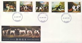 1991-01-08 Dogs George Stubbs Stamps FDC 99p cover SALISBURY fdi refcd460 In good condition small bumps to corner tips.  With insert card. Please see larger photo and full description for details.