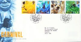 1998-08-25 Carnivals Stamps FDC 99p cover refcd462. In good condition. With insert card. Please see larger photo and full description for details.