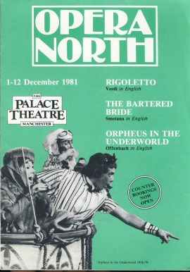 Opera North 1981 Palace Theatre Manchester foldout brochure / price list. Good used condition with wear and some creases.  This vintage Theatre programme measures approx 15cm x 21cm. Please read full description and see large photo. C438