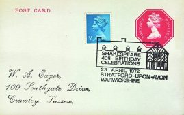 1972 Shakespeare Birthday Celebrations Special Postmark Stratford-upon-avon postcard refP6-8 Postcard in very good used condition. Blank reverse. Please see larger photos and full description for details.