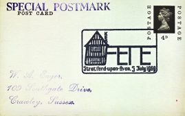 1969 FETE Stratford-upon-Avon Special Postmark postcard refP6-9 Postcard in very good used condition. Addressed on reverse. Please see larger photos and full description for details.