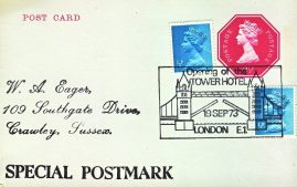 1973 Opening of the Tower Hotel London E1 Special Postmark postcard refP6-11 Postcard in very good used condition. Blank reverse. Please see larger photos and full description for details.