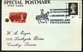 1969 Halfcrown RIP Richmond & Twickenham Special Postmark black edged postcard refP6-13 Money appears to be paper cut-outs stuck onto card. Postcard in very good used condition with some marks. Please see larger photos and full description for details.