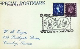 1970 Coventry Chief Scout's Visit Special Postmark postcard refP6-16 Blank reverse. Postcard in very good used condition with some creasing to corners. Please see larger photos and full description for details.