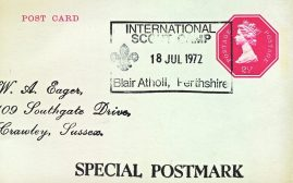 1972 International Scout Camp Blair Atholl Perthshire Special Postmark postcard refP6-17 Printed address on reverse. Postcard in very good used condition. Please see larger photos and full description for details.
