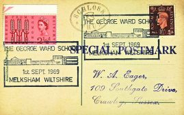1969 George Ward School Melksham SCHLOSS THUN Special Postmark postcard refP6-20 Postcard in very good used condition. Please see larger photos and full description for details.