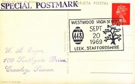 1969 Westwood High School LEEK Staffordshire 448 Tree Special Postmark Paisaje del Lago de Valencia postcard refP6-21 Postcard in very good used condition. Please see larger photos and full description for details.