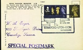 1969 Shakespeare Stratford-upon-Avon Special Postmark Royal Pavilion Brighton postcard refP6-2 Postcard in very good used condition. Please see larger photos and full description for details.