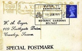 1971 ULSTER EXHIBITION Botanic Gardens BELFAST Special Postmark postcard refP6-22 Postcard in good used condition. Please see larger photos and full description for details.
