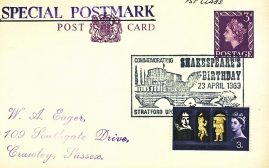 1969 Shakespeare's Birthday Stratford upon Avon Special Postmark postcard refP6-24 Postcard in very good used condition. Printed address on reverse. Please see larger photos and full description for details.