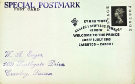 1969 Welsome to the Prince of Wales CAERDYDD CARDIFF Special Postmark postcard refP6-5 Postcard in very good used condition with some wear to corners. Printed address on reverse. Please see larger photos and full description for details.