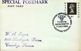 1969 Cyfarchion Diffuant Oddi WRTH Tywyn Merioneth Reilfford Talyllyn Special Postmark postcard refP6-7 Postcard in very good used condition. Please see larger photos and full description for details.