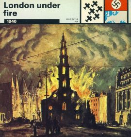London under fire 1940 1st big incendiary raid - War in the Air WWII card refP5 TOPIC: World War II - Cards Printed in Italy by Edito-Service S.A.Geneva 1977. Reverse side of card is text information all about the topic on the front. Card in good condition for age. Please see large photos and description for details.