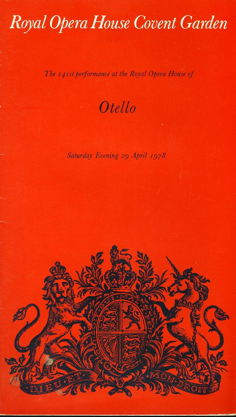 Royal Opera House Covent Garden OTELLO 1978 Theatre Programme refb101036 Pre-owned Programme in Good Condition. Measures approx 14cm x 24cm