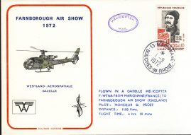 1972 Farnborough Air Show Gazelle Helicopter flown Military cover Marignane rcd12 Very Good condition with insert card. Please see larger photo for details.