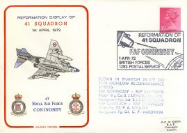 1972 Reformation of 41 Squadron RAF Coningsby BFPO flown Military cover rcd15 Very Good condition with insert card. Small indent on front. Please see larger photo for details.