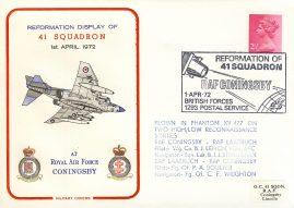 1972 RAF CONINGSBY 41 Squadron flown in Phantom Military cover rcd19 Very Good condition with small dent on front. No insert card. Please see larger photo for details.