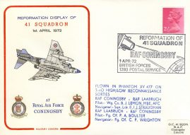 1972 RAF CONINGSBY 41 Squadron flown in Phantom Military cover rcd20 Very Good condition with insert card. Please see larger photo for details.