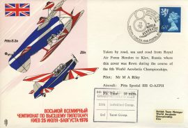 1976 World Aerobatic Championships flown cover RAF Hendon to Kiev Russia cd27 Very Good condition with insert card. Please see larger photo for details.