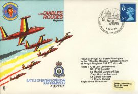 1976 RED DEVILS Les Diables Rouges Battle of Britain BFPO RAF flown cover rcd29 Very Good condition with insert card. Please see larger photo for details.