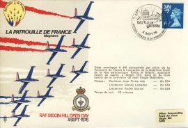 1976 La Patrouille de France Magisters RAF BIGGIN HILL Battle of Britain flown cover rcd30 Very Good condition with insert card. Please see larger photo for details.