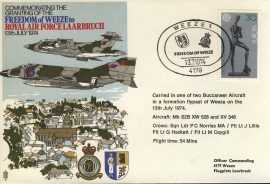 1974 RAF LAARBRUCH Germany flown cover  Freedom of Weeze rcd35 Very Good condition. No insert card. Please see larger photo for details.
