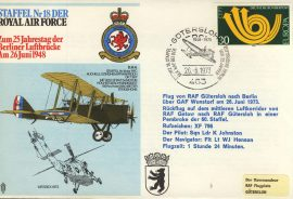 1973 Staffel Nr 18 DER RAF flown cover Squadron 18 Animo et Fide rcd36 Very Good condition with insert card. Please see larger photo for details.