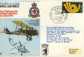 1973 Staffel 18 DER RAF flown cover Berliner Luftbrucke Squadron 18 Animo et Fide rcd38 Very Good condition with insert card. Please see larger photo for details.