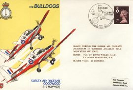 1978 RAF Leeming flown coverBULLDOGS Sussex Air Pageant GOODWOOD BFPO rcd48 Very Good condition with insert card. Please see larger photo for details.