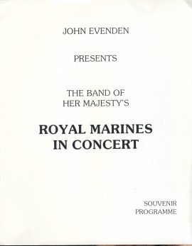 Royal Marines in Concert Souvenir Programme band based at HMS Pembroke - undated. Good used condition with some handling creases.  This vintage Theatre programme measures approx 20cm x 26cm. Please read full description and see large photo. C448
